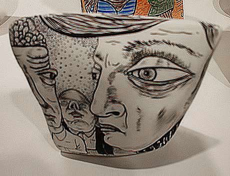 Bart-Johnson-ceramic-vessel--Eight-Modern Hand drawn face motifs