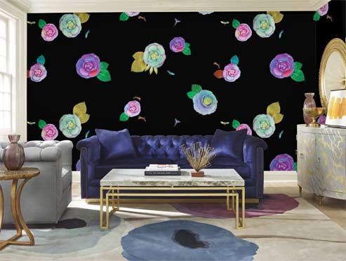 Cynthia-Rowley-Collection-from-Tempaper large colorful flowers on black