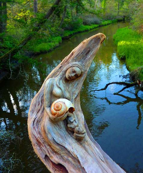 Driftwood-female river Sculpture by Debra Bernier