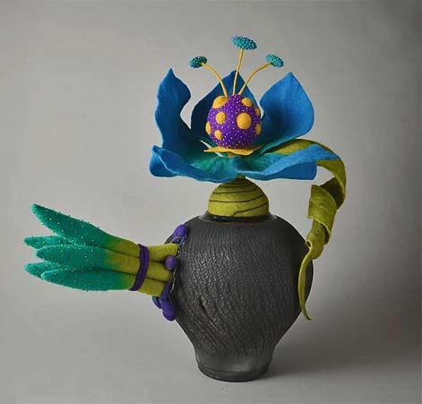 Ellen Silberlicht - Ooolong Enchantment-Raku, felted fber, glass beads