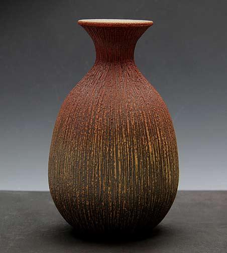 Tsuyoshi Shimizu incised texture bottle