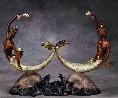 Erte-twin-mermaids-sculpture with gold fins