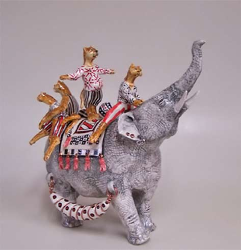 Four Cat Teapot- Andree Richmond 4 cats riding an elephant