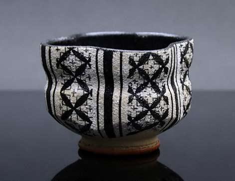 Fukuno Michita tea bowl -- black and white geometric pattern