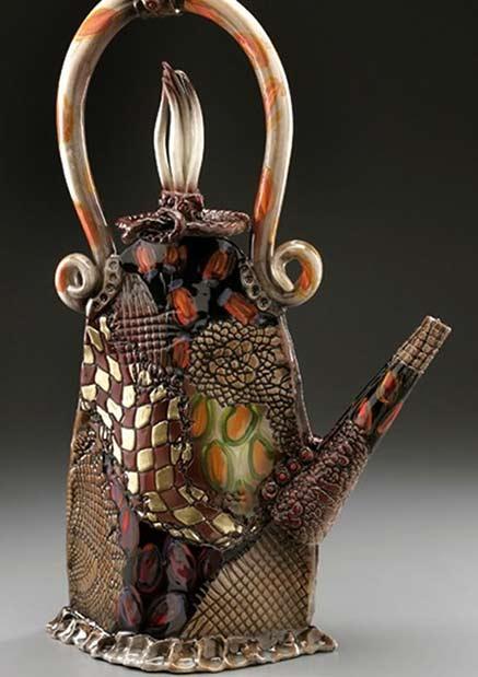 Gail-Markiewicz-ceramic teapot with complex textures