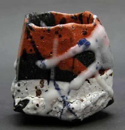Ichikawa-Translucent-Sake-Bowl with white drip glaze on terracotta