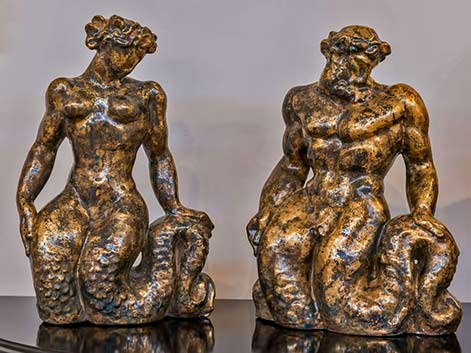 Jean Mayodon ceramic mermaid and merman sculpture
