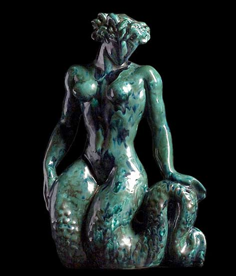 Jean-Mayodon-jade green ceramic Mermaid sculpture