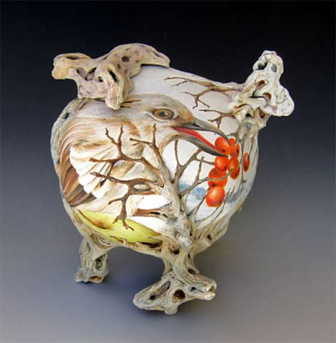 Julia-Feld---The-Bird-teapot --clay,-hand-built,-carved,-hand-painted-with-underglazes,-low-fre