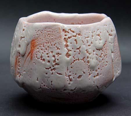 Kato Kiyoyuki shino - pink and white glaze cup