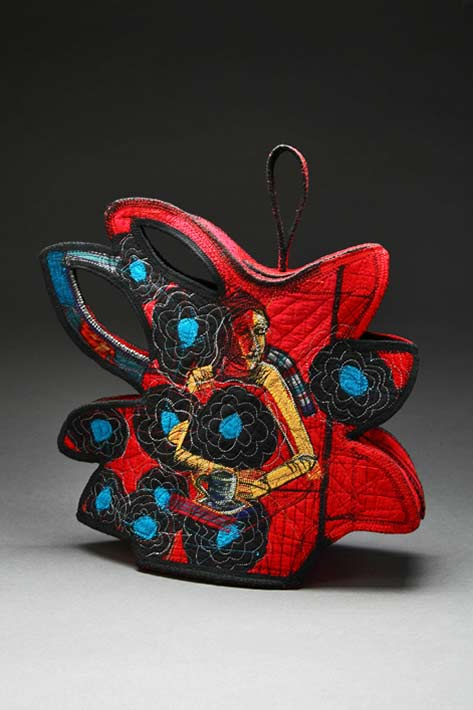 Kay Khan,-Chrysanthemum Teapot rich colours Quilted, stitched, embroidered, & constructed silk