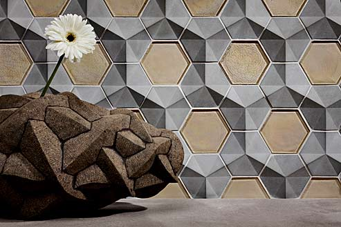 Lunada Bay Tile Contourz Concrete Fanfare Hex_Grey, Latte, Pearl