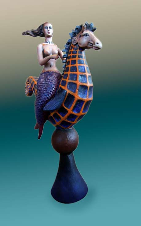 Mermaid Riding Seahorse Sculpture by Sergio Bustamante