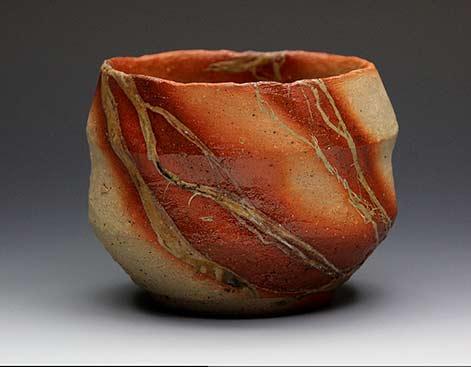 Mori Hinzai tea bowl red highlights