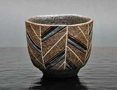Nishida-Shinya-incised-tea-bowl geometric patterns