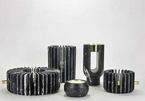Ooumm, black marble candle holders and fragrance