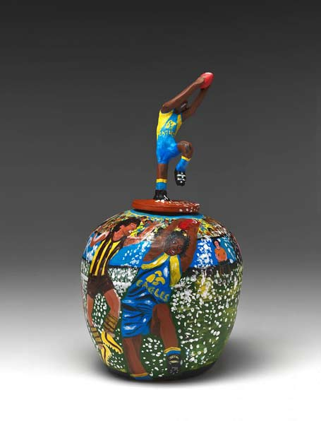 Part of the game-(Chris Lewis),-covered vase Anita Mbitjana Ratara
