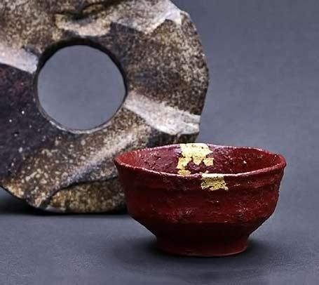 Pottery bowl cup ancient vermillion - Nakahara Koji