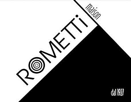Rometti black and white geometric logo