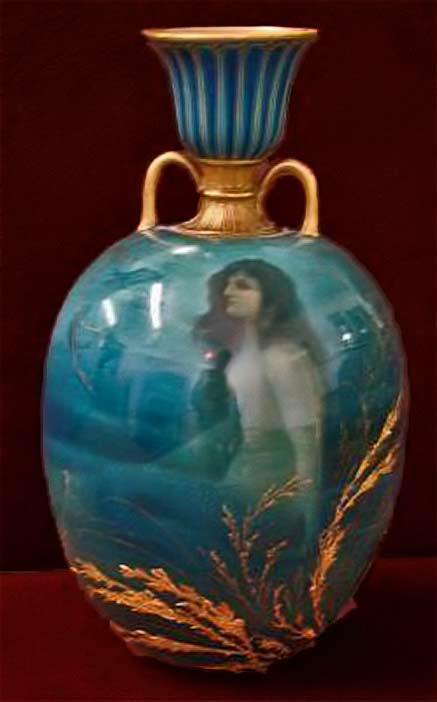 Turquoise Royal-Dalton-Hand-Painted-Mermaid-Vase with gold twin handles