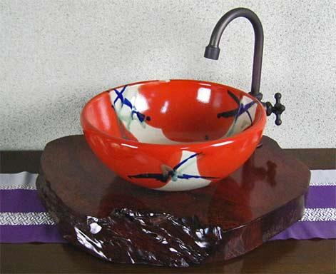 Samurai Potter-red bathroom basin