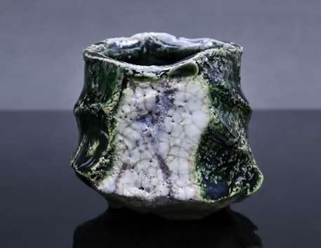 Sancha-Oribe-Ho-Hakugaku - green and white glaze