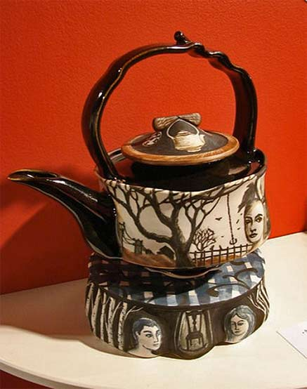 Seth Rainville ceramic teapot with face motifs