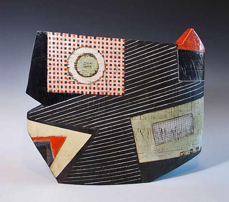 Sheryl-Zacharia-Pinstriped ceramic sculpture vessel