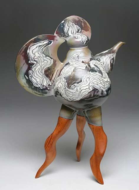 Tom Hubert Mahogany Leg Teapot