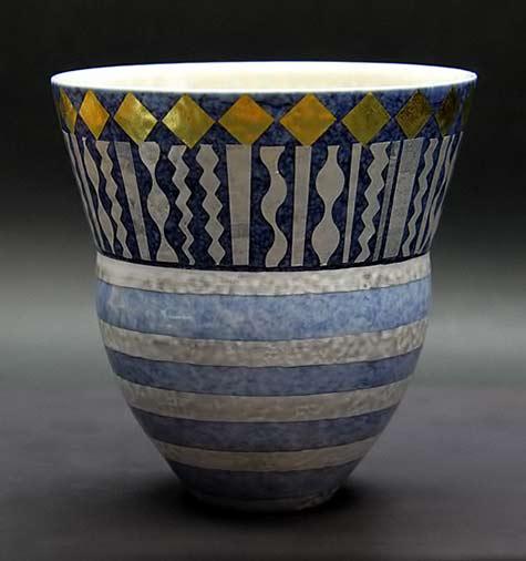 Tomoko Takahashi ceramic yunomi with geometric patterns