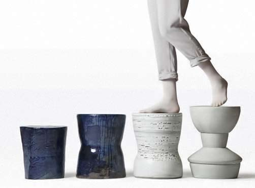 Pascale-Girardin ceramic stools in dark blue and white