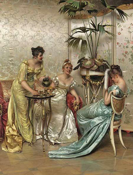 Vittorio-Reggianini-three-ladies-having-tea in satin gowns
