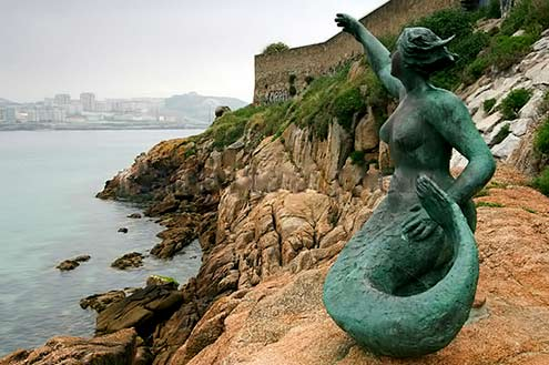 Coastal Mermaid sculpture near the promenade of the town of La Coruña in Spain's Galicia region