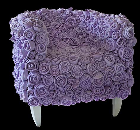 'Muchas Lilla' - Recycled Lilac roses chair
