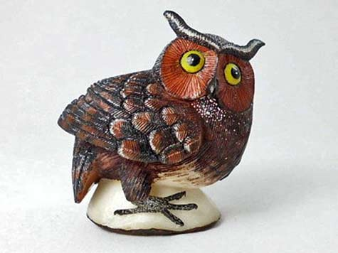 Hand carved owl sculpture