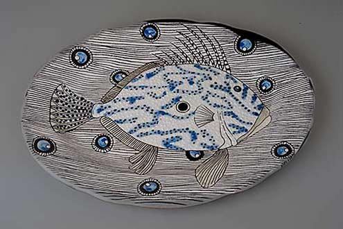 Belhaj-Myriam-potière-platter with fish motif