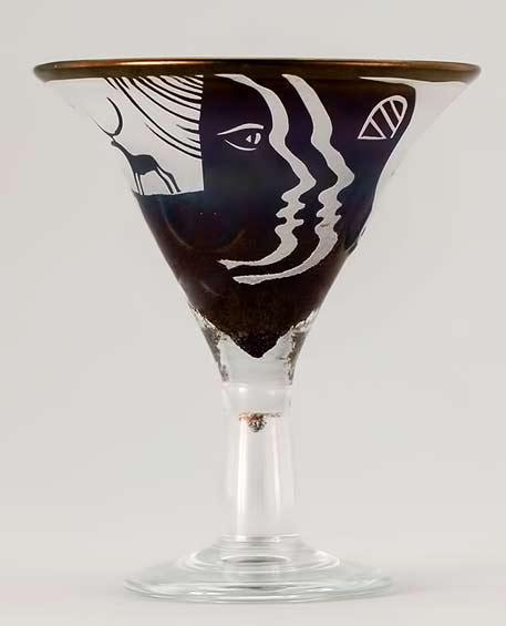 Bertil Vallien (Swedish, 1938), Glass Bowl with Sand Blasted Decoration