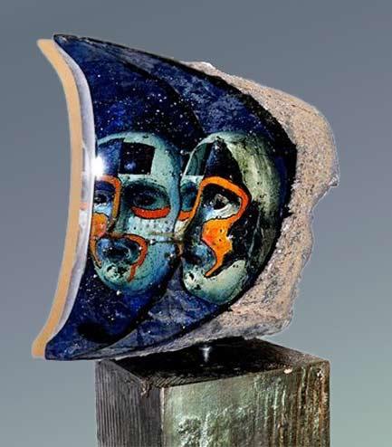 Bertil Vallien (Swedish), Kosta Boda, Janus glass sculpture