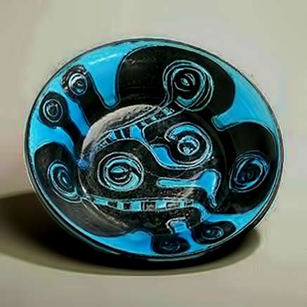 Birthe Weggerby-abstract-plate turquoise and black