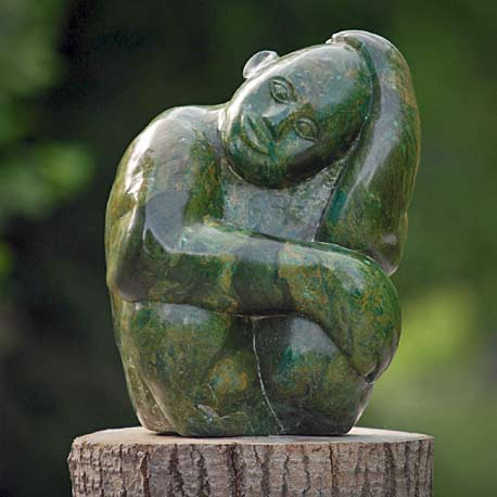 Boy-Dreaming-by-Sylvester-Mubayi - Green stone sculpture