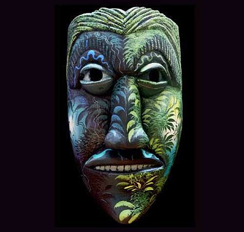 Carved mask with painting by two great artists of the Brunka Tribe don Ismael Gonzalez and his son Melvin Gonzalez.