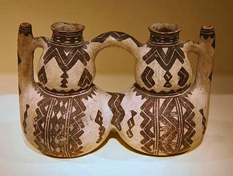 Kabyle (Berber) pottery double vessel from northeastern Algeria19th_century