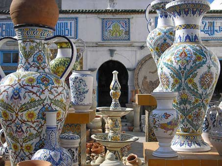 Large baluster ceramic pots in Nabeul, Tunisia
