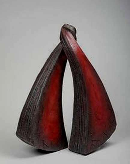 Christine-Fabre-crimson ceramic-sculpture