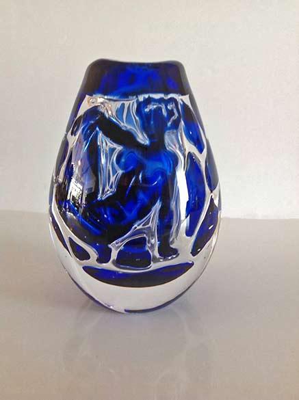 Edvin Öhrström Ariel Glass Vase,-circa 1958-glass vase with blue nude lady