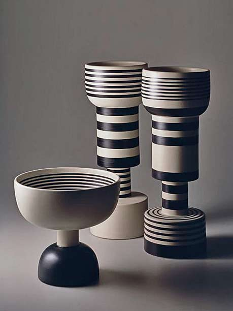 Ettore-Sottsass-ceramic-vessels in black and white