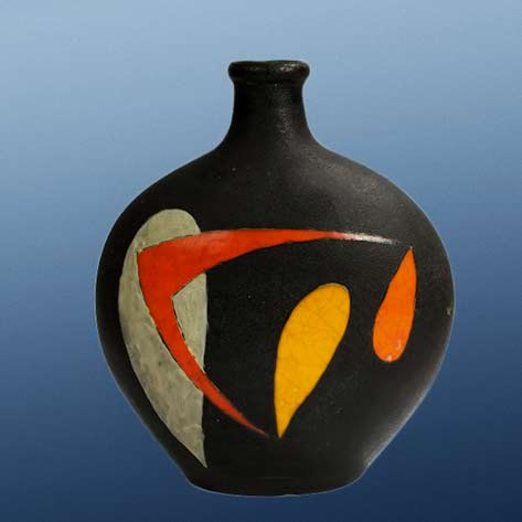 Gilbert Valentin abstract motif black vase