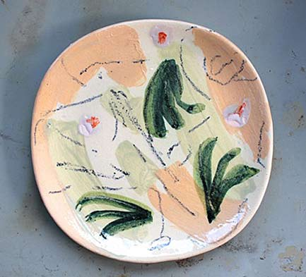 Heloise-Bariol-ceramic dish greens and peach colors
