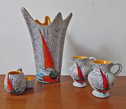 Italian-Vintage-yacht-motif-ceramic-set