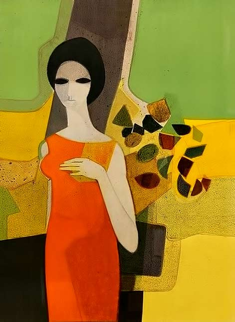 Lady with Flowers-André Minaux-1970